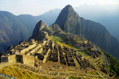 Incan citadel, located high in the Andes Mountains of Peru