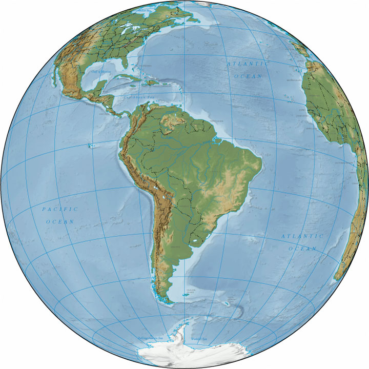 map south america - relief map of south america
