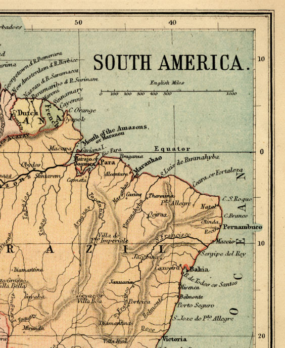 northeast south america map